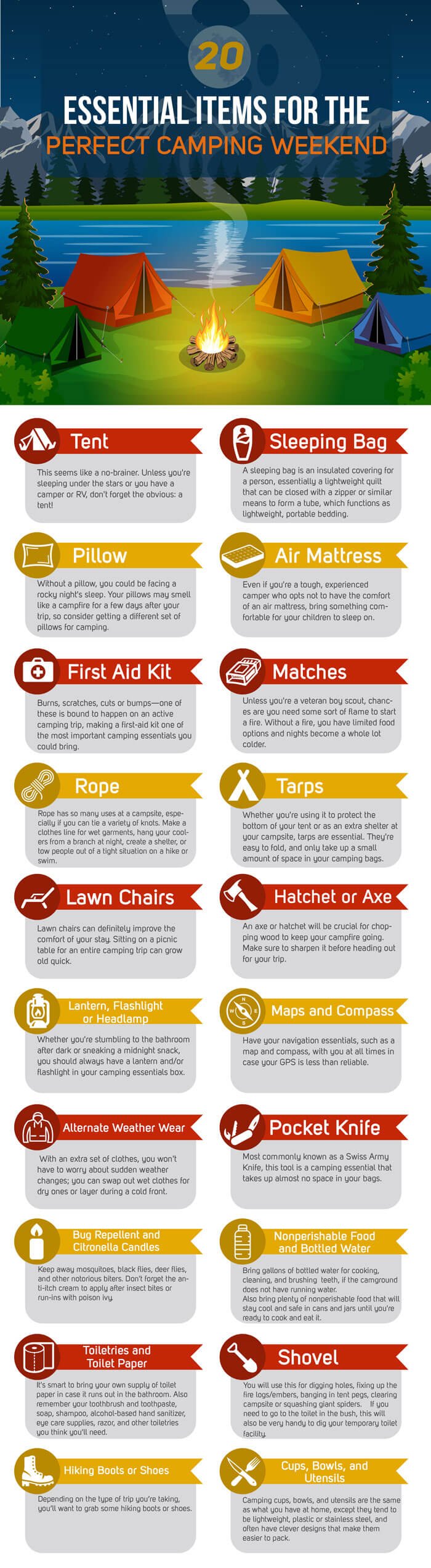 20 necessary things for camping (INFOGRAPHIC)