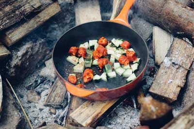 Re-heated leftovers make for easy camping meals