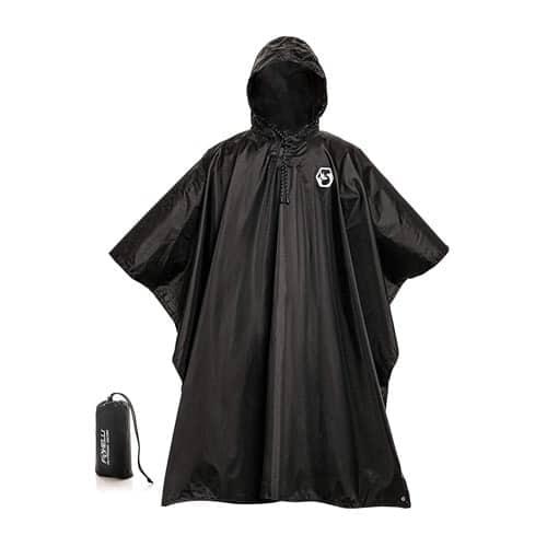 Foxelli Hooded Rain Poncho Waterproof