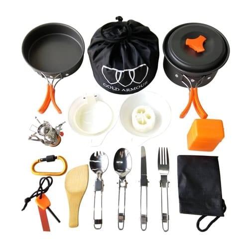 Gold Armour 17 Pieces Camping Cookware Mess Kit