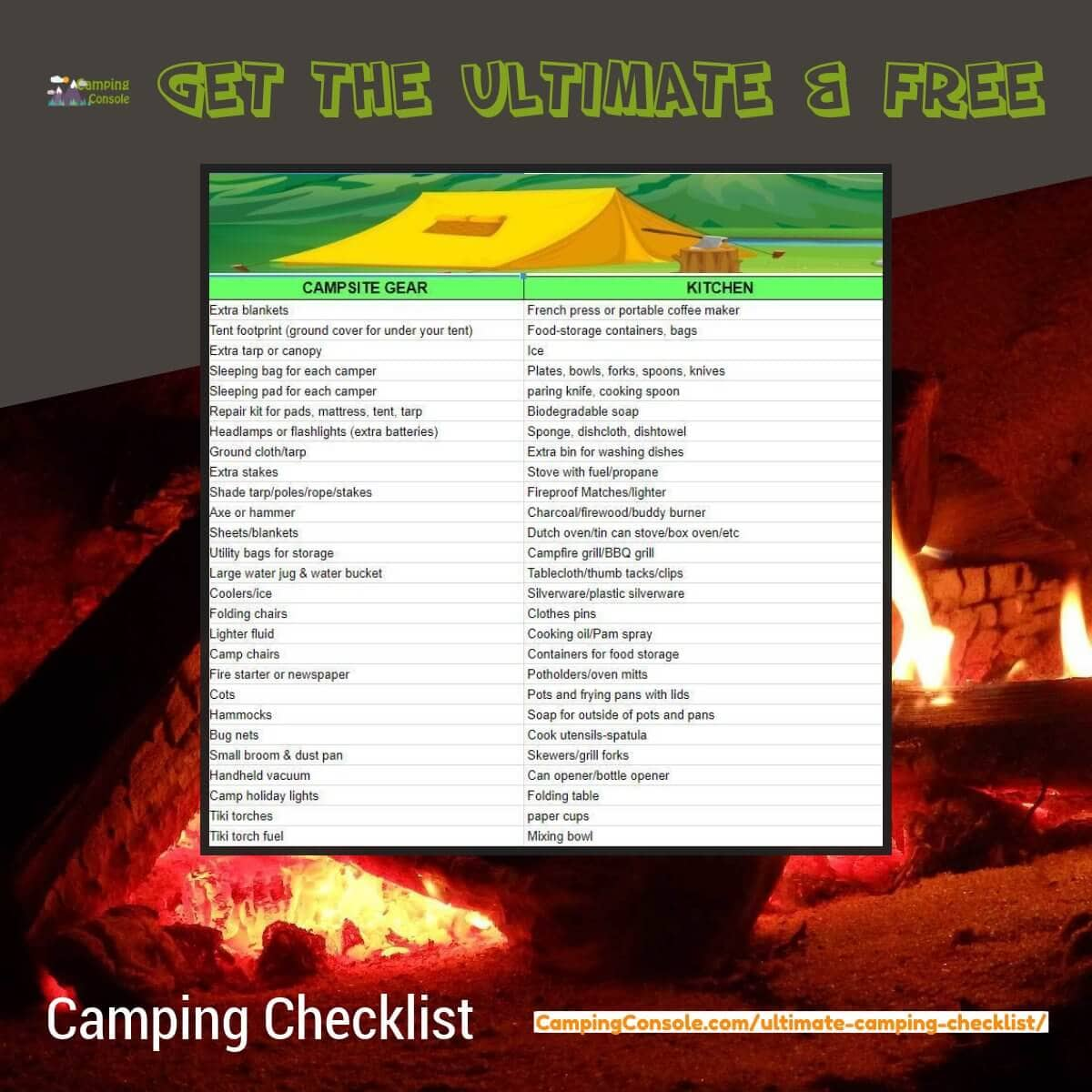 Camping checklist for families
