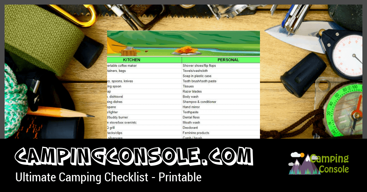 printable checklist of camp items