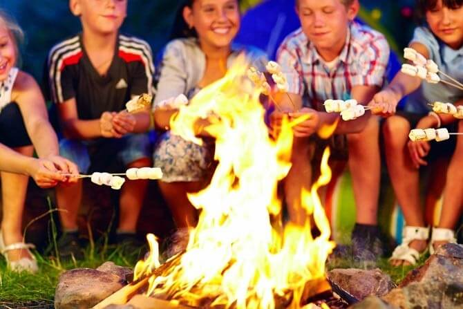 roasting marshmallows on campfire