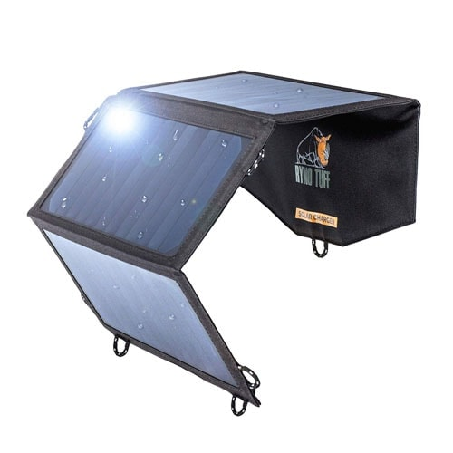 Ryno-Tuff Portable Solar Charger for Camping - 21W Foldable Solar Panel Charger 2 USB Ports