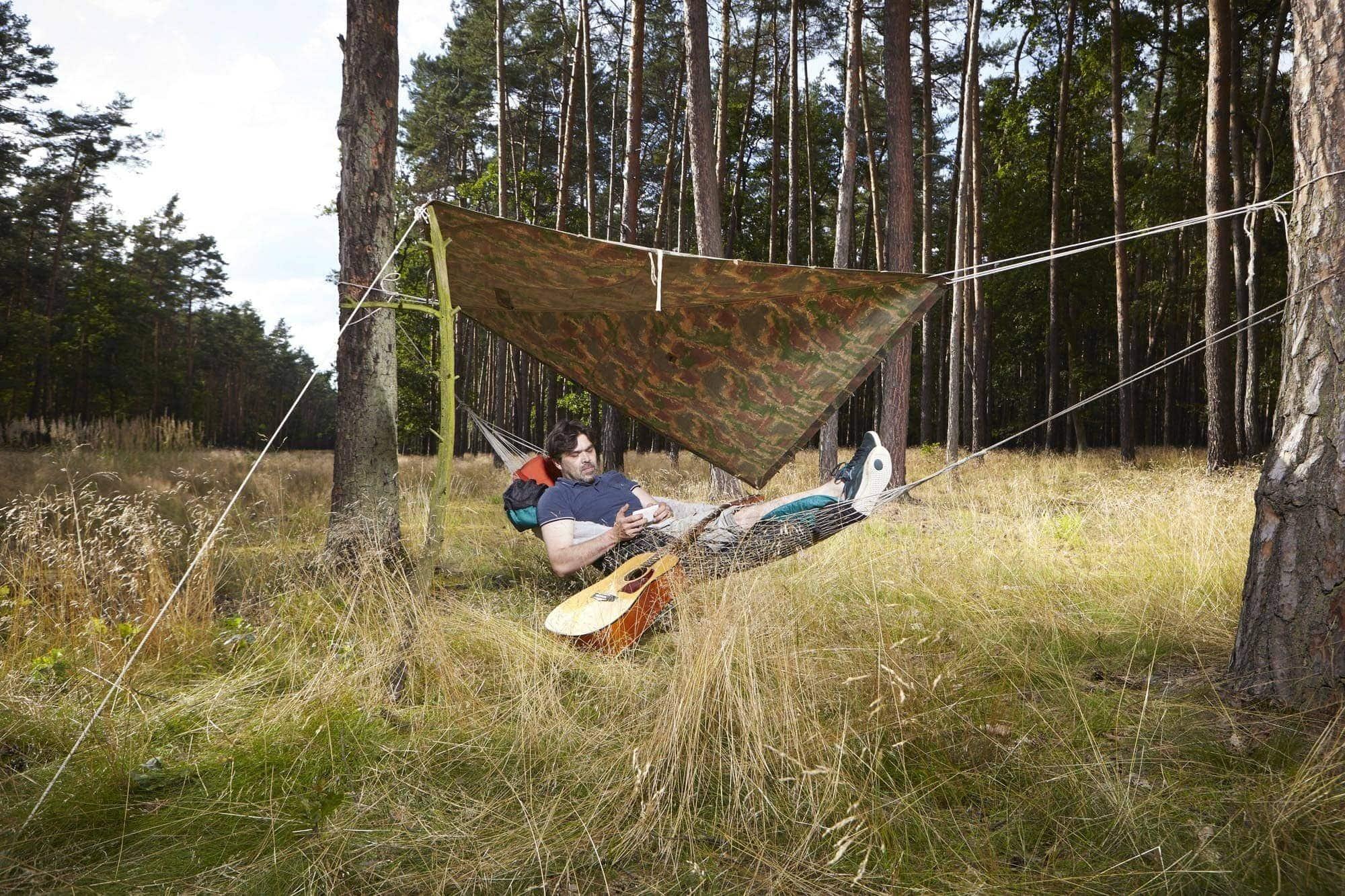 hammock camping with tarp rainfly