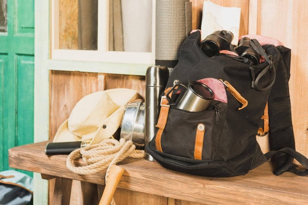 packed hiking backpack