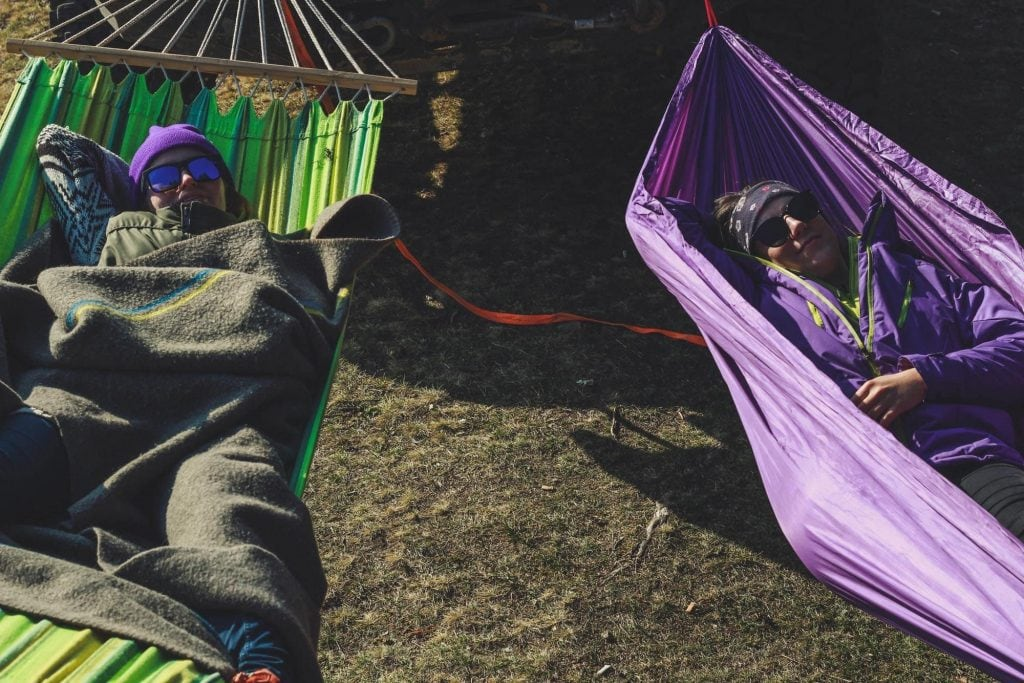 women in hammocks