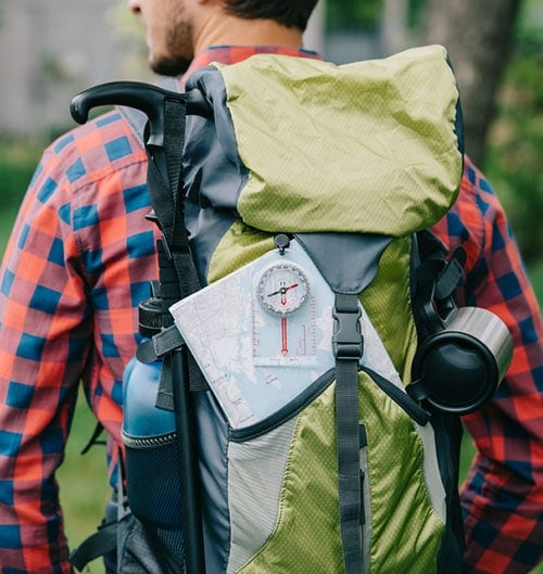 Compass in backpack