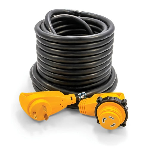 Camco 50 PowerGrip Extension Cord with 30M-30F- 90 Degree Locking Adapters