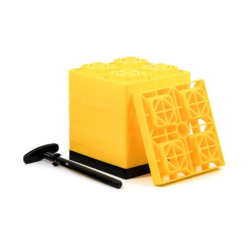 Camco Yellow Fasten 2x2 Leveling Block for Single Tires, Interlocking Design Allows Stacking to Desired Height