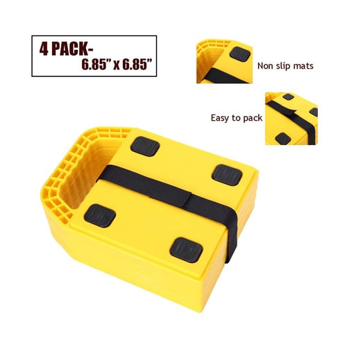 Homeon Wheels Stabilizing Jack Pads for RV, Camper Leveling Blocks Help Prevent Jacks from Sinking