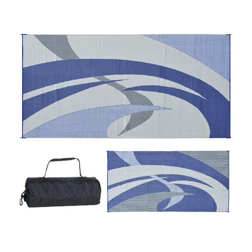 REVERSIBLE MATS 159183 Blue-Grey 9-Feet x 18-Feet RV Patio Mat