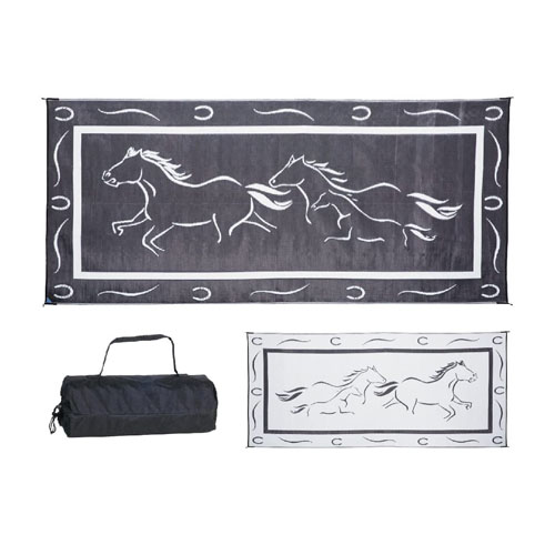 Stylish Camping GH8181 Black-White 8-Feet x 18-Feet Galloping Horses Mat