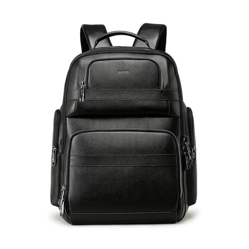 BOPAI 40L Genuine Leather Backpack for Men