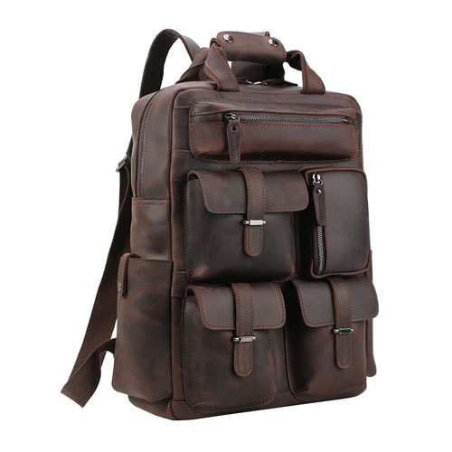 Polare Cowhide Leather Multiple Laptop Backpack